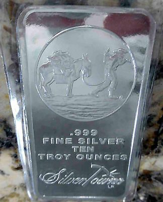 2 X 10 oz SILVER BARS = 20 ozs PROSPECTOR ~ SILVERTOWNE ~ NEW & SEALED