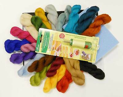 20 colour Needle Felting Kit with Clover Punch Tool