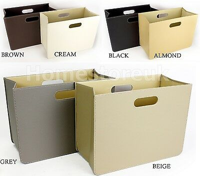 New Foldable Faux Leather Magazine Newspaper Rack Storage Colour Basket Office