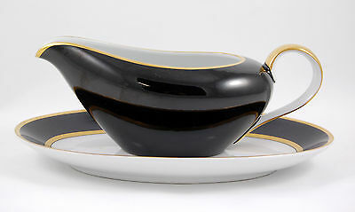 Fitz and Floyd RENAISSANCE – BLACK ON WHITE Gravy Boat and Underplate 9.75 in.