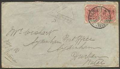 South Africa Transvaal To Natal Censor Cover 1901 Pair Stamps L@@K