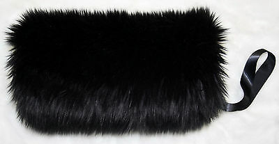 Black Faux Fur Fluffy Hand Warmer  Muff Perfect For Bridal Wedding Formal Nwt