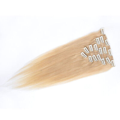 "AAA 15""-28"" 100% Real Full Head Clip in Human Hair Extensions Light Blonde #22"