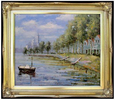 Framed Claude Monet Zaandam Holland Repro, Hand Painted Oil Painting 20x24in