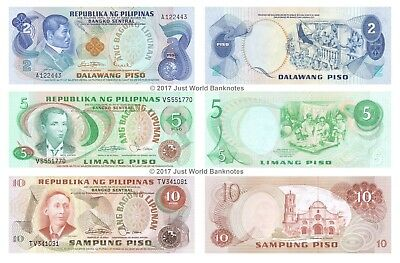Philippines 2 + 5 + 10 Piso 1978 Set of 3 Mint Unc Uncirculated Banknotes 3 PCS