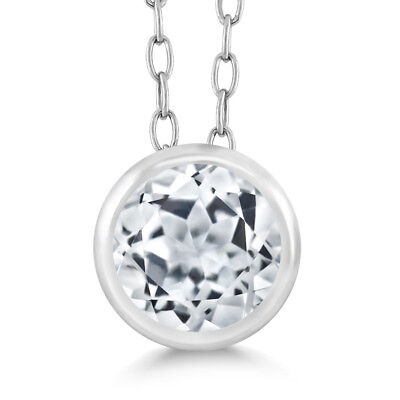 "0.60 Ct Round White Topaz 925 Sterling Silver Pendant 18"" With Chain"