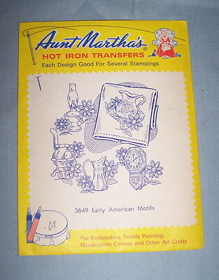 Aunt Martha's Hot Iron Transfers EARLY AMERICAN MOTIFS, 3649, In Sealed Envelope