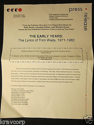 Tom Waits 'The Early Years' 2007 Press Release