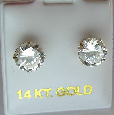1.50 Carat MAN MADE STONE Stud EARRINGS Solid 14K Yellow GOLD ROUND Screw Back