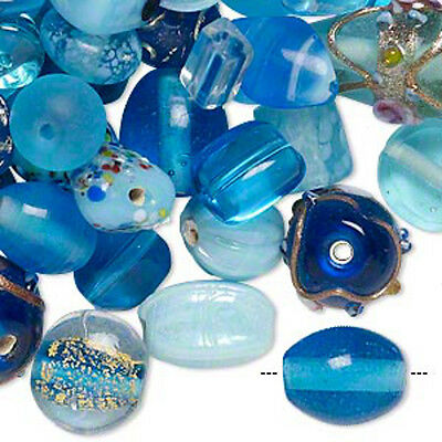 Lampwork Beads Turquoise Blue Mix Fancy Glass Jewelry Lot of 70 pcs
