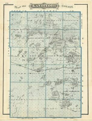 Kandiyohi County Minnesota, 1875 Andreas Atlas Map, Willmar, Meeker County