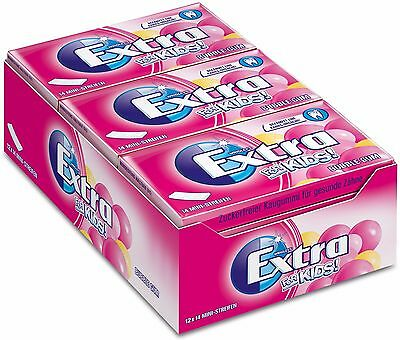 (1000g=24,49€) Wrigleys Extra Kinder - Bubble Gum - Kaugummi - 12 Packungen