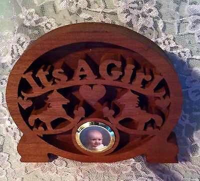 "Baby Picture Frame ""It's A Girl"" - Handmade Wood Scroll Fretwork"