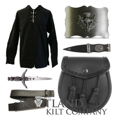 New Mens 6 Piece Black Ghillie Shirt Leather Kilt Sporran Accessory Package