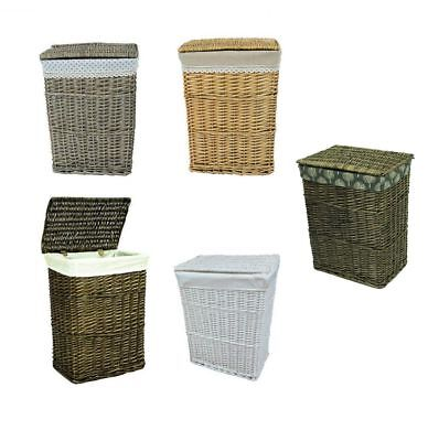 Lidded Wicker Linen Laundry Bin Storage Basket w/ Cotton Liner Choice of Designs