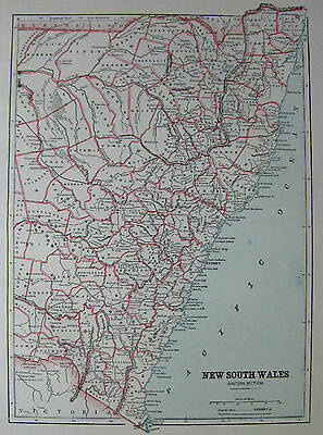 Antique NEW SOUTH WALES Australia MAP 1891 Vintage Collectible Map Atlas Map