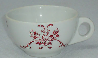 Vintage Iroquois China Deep Red Floral & Vines Tea Cup Mug P.R. A-3 & B-3 A150