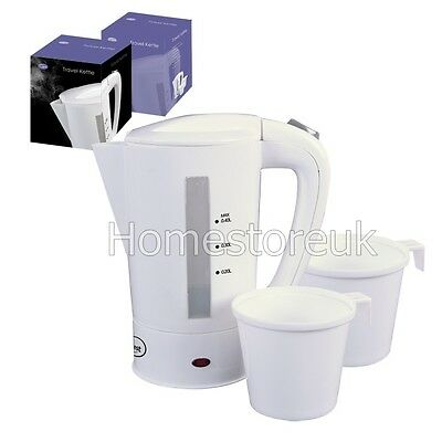 0.4L Mini Compact Electric Portable Travel Kettle Water Jug 2 Cup Mug White 5440