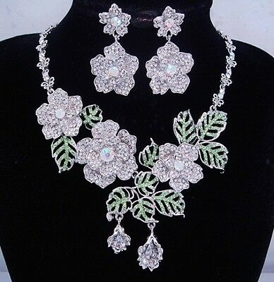 silver necklace set clear light green AB crystal  floral leaf vintage style FIOJ