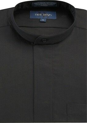 NWT. Men's Black Banded Collar Dress Shirt. Sizes XS - 5XL.
