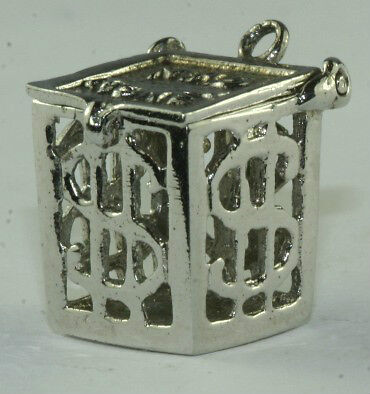 Vtg 1960'S Sterling Silver Mad Money Hinged Cage Charm