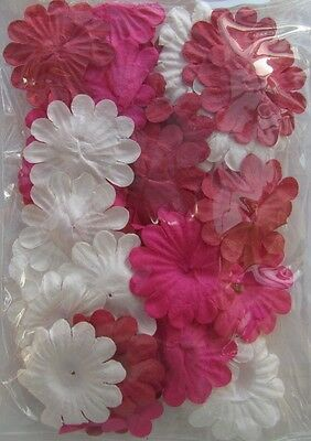 Pink & White Paper Flowers Pack of 36 Pieces Card Making & Scrapbook NEW