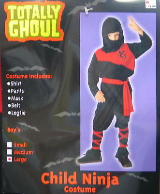Child's Red Ninja Halloween Costume, Large 8-12, NEW UNUSED