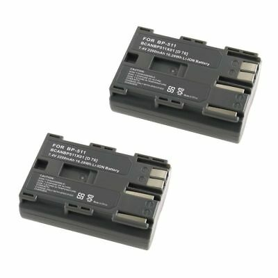 Two 2200mAh Batteries For Canon BP-508 / BP-511 / BP-511A / BP-512 / BP-514  X2