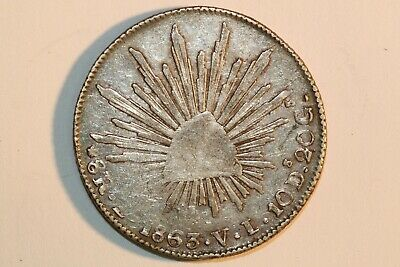 Very Fine 1863 ZS Mexico 8 Reales Silver Coin KM 377.13 (MEX988)