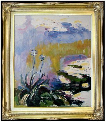 Framed, Claude Monet Les Agapanthes Repro, Hand painted Oil Painting 20x24in