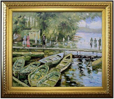 Framed Monet Bathers at La Grenouillere Repro, Hand Painted Oil Painting 20x24in