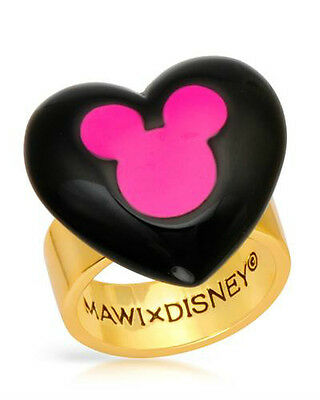 DISNEY Mickey Mouse Ring in Black Enamel and Gold Plated Base Metal Size 6.