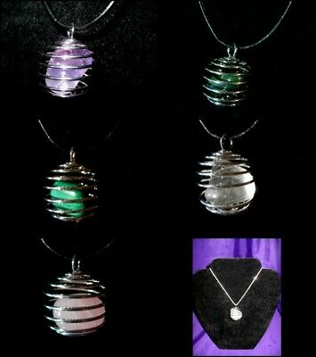 RAJ063 Necklace/Pendant/Key Ring Semi Precious Spiral Cage 25mm Large Various