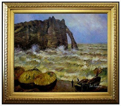 Framed Claude Monet Rough Sea at Etretat Repro Hand Painted Oil Painting 20x24in