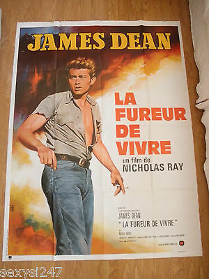 REBEL WITHOUT A CAUSE James Dean ORIGINAL HUGE FRENCH CINEMA POSTER 1970's