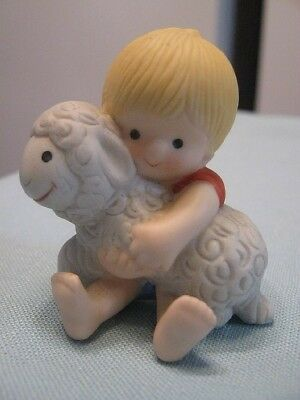 1984 VTG ENESCO COUNTRY COUSINS FIGURINE SCOOTER HOLDING A SHEEP MANY LISTED