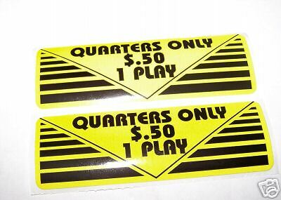 Quarter Only .50  1 Play Coin Door Sticker