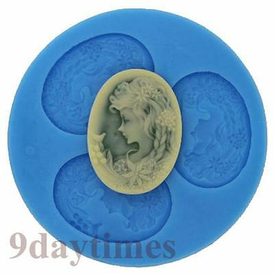 Lady Avatar Cabochon Silicone Mould Mold For Polymer Clay Cameo 40X30mm A133