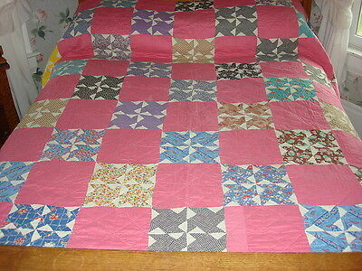 "Antique Quilt PINWHEEL VARIATION & PINK BLOCKS 76""x76"" Hand-Quilted"