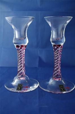 Langham Glass Hand-Made Crystal Olde English Ruby Red Candlesticks X2 New/boxed