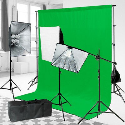 1600Watts Chromakey Green Screen Lighting Kit 10'x12' Backdrop Background Stand