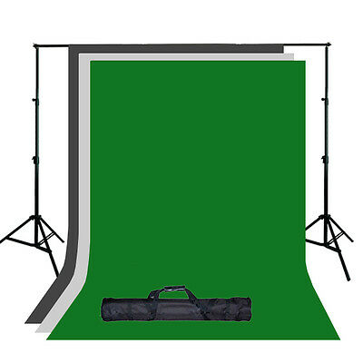 Photography Chroma Key Green Screen with Black and White Backdrop Stand Kit Set