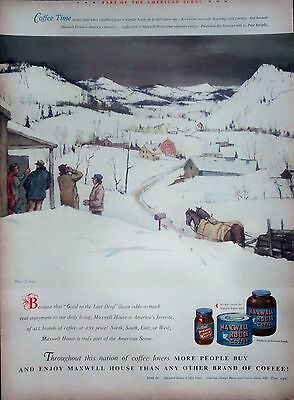 1948 Maxwell House Coffee Snow Covered Vermont Hills Neighbors Stop Sample ad