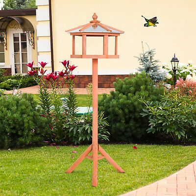 Bird Stand Feeder Table Feeding Station Garden Wood Coop Parrot Nesting Stand
