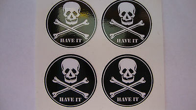 """HAVE IT 12 SKULL and CROSS BONES STICKERS 1"""" CROWN GREEN BOWLS LAWN FLAT GREEN"""