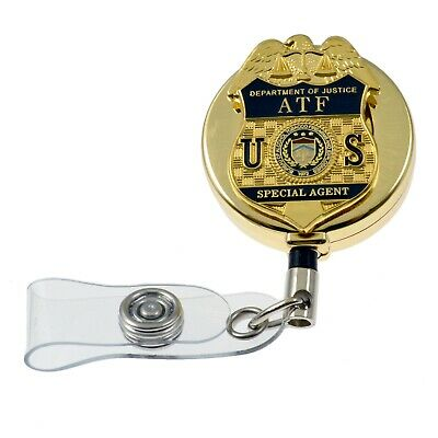 DOJ Justice ATF E Federal Special Agent Badge Retractable ID Card Holder Reel