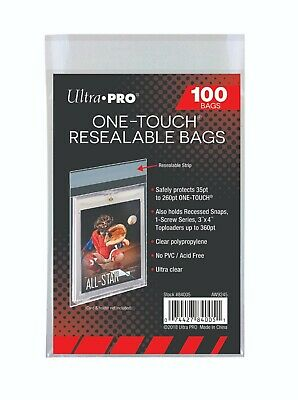 1000 Ultra Pro One Touch Resealable Bags 10 Bags  New Acid Free No PVC