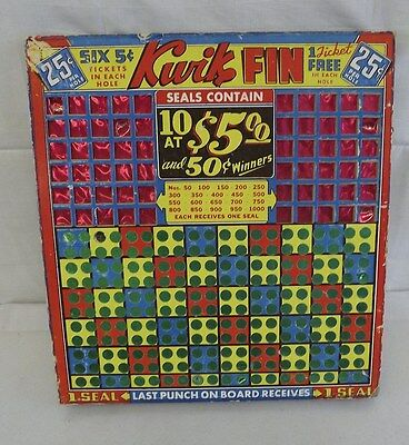 Antique  Punch Board Game Kwik Fin 25 Cents Distinctive Lucky Boards RARE
