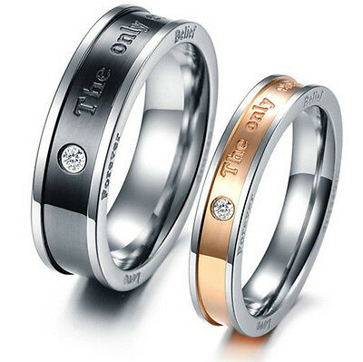 """R026 """"The only eternal love"""" Titanium Steel Promise Ring Lovers Couple GIFT"""