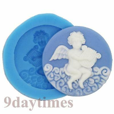 Cupid God of love Cabochon Silicone Mold For Polymer Clay Jewellry 35mm A295